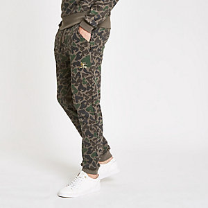 Money Clothing - Donkerbruine joggingbroek met camouflageprint