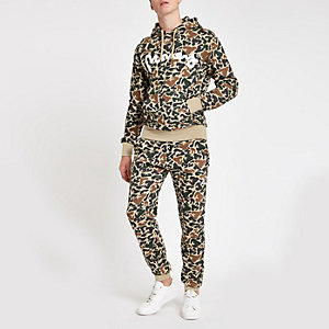 Money Clothing - Lichtbruine joggingbroek met camouflageprint