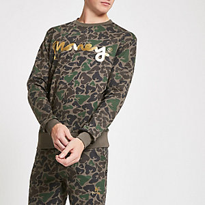 Money Clothing – Braunes Sweatshirt mit Camouflage