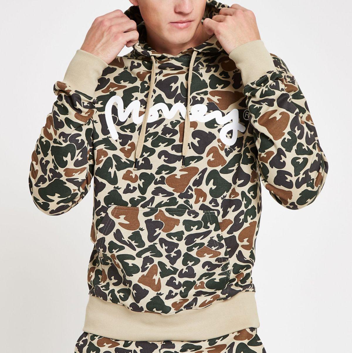 Money Clothing brown camo hoodie