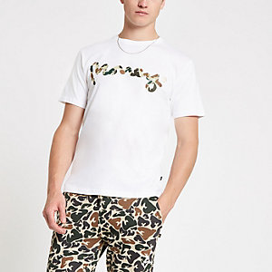 Money Clothing - Wit T-shirt met camouflageprint en logo
