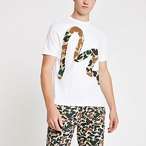 Money Clothing - Wit T-shirt met camouflage- en Money-print