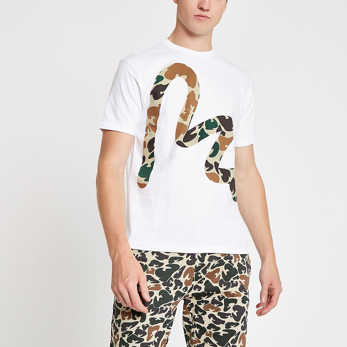 Money Clothing white camo Money print T-shirt