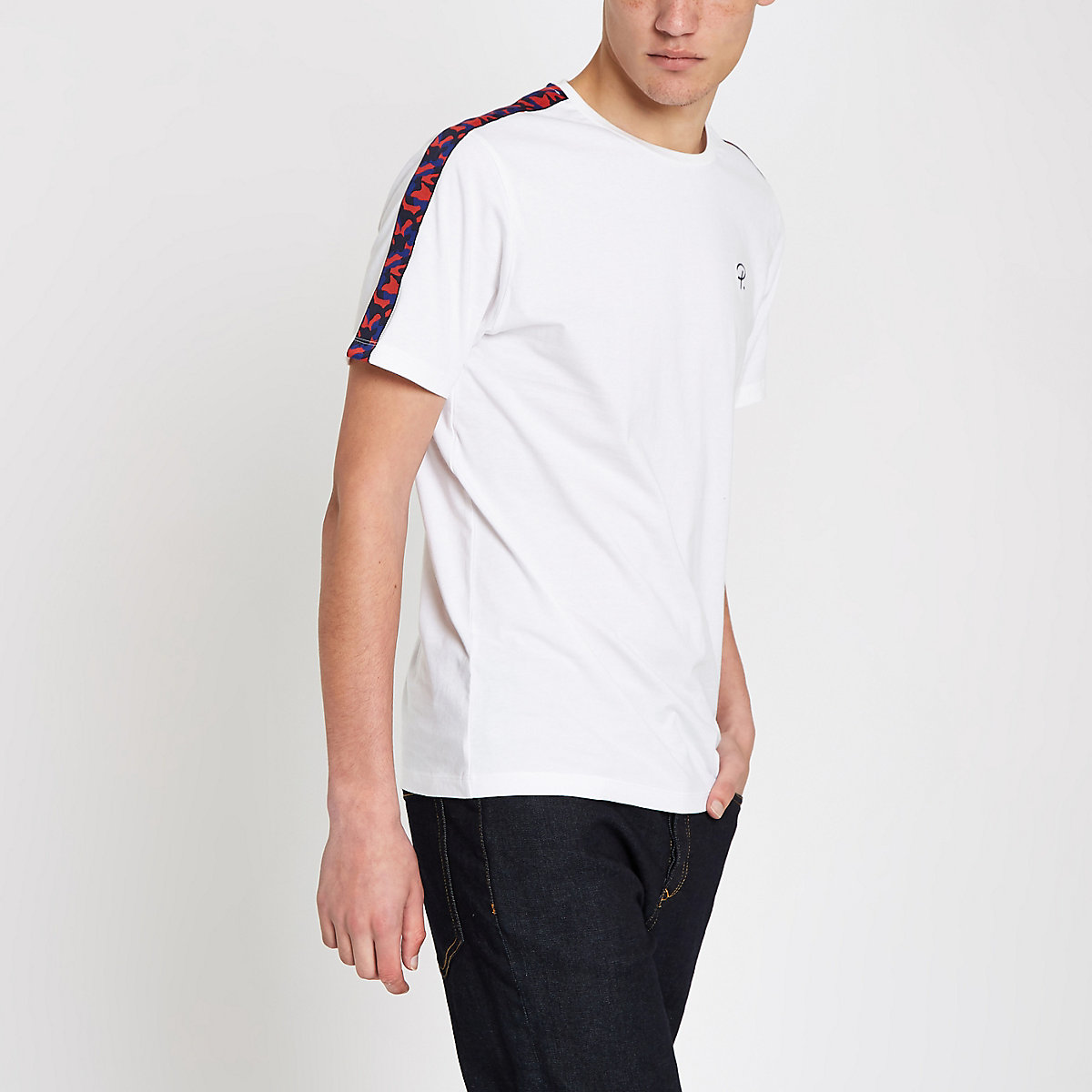 White camo tape slim fit T-shirt