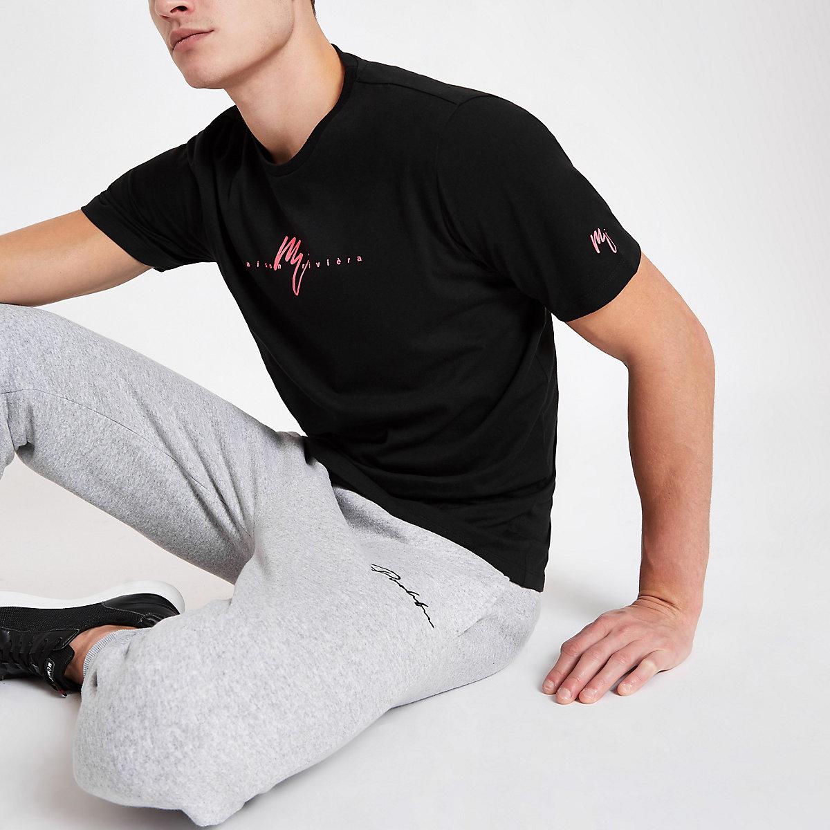 Black slim fit 'Maison Riviera' neon T-shirt