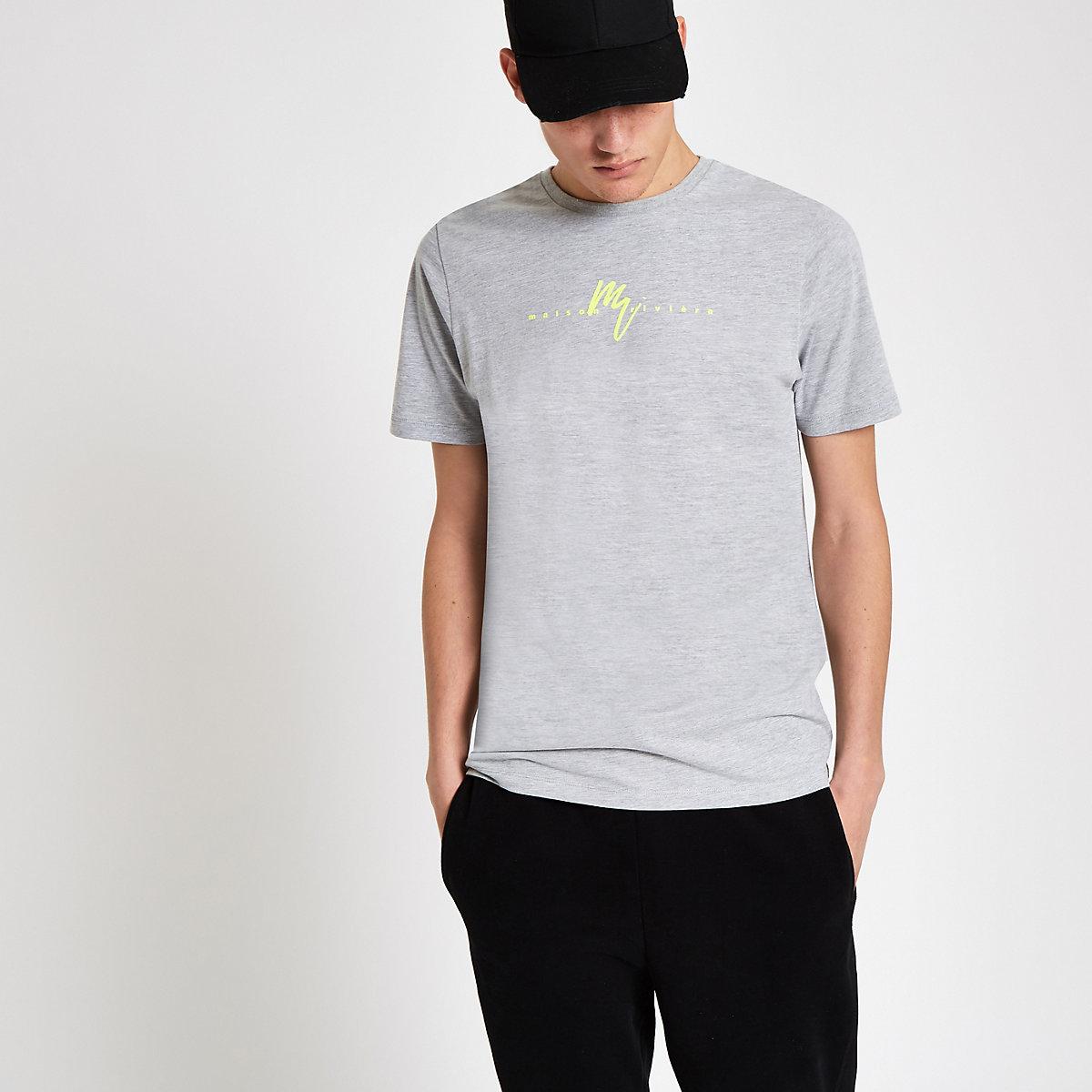 T-shirt slim «Maison Riviera» fluo gris