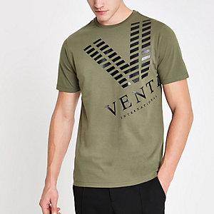 T-shirt slim imprimé «venti» kaki