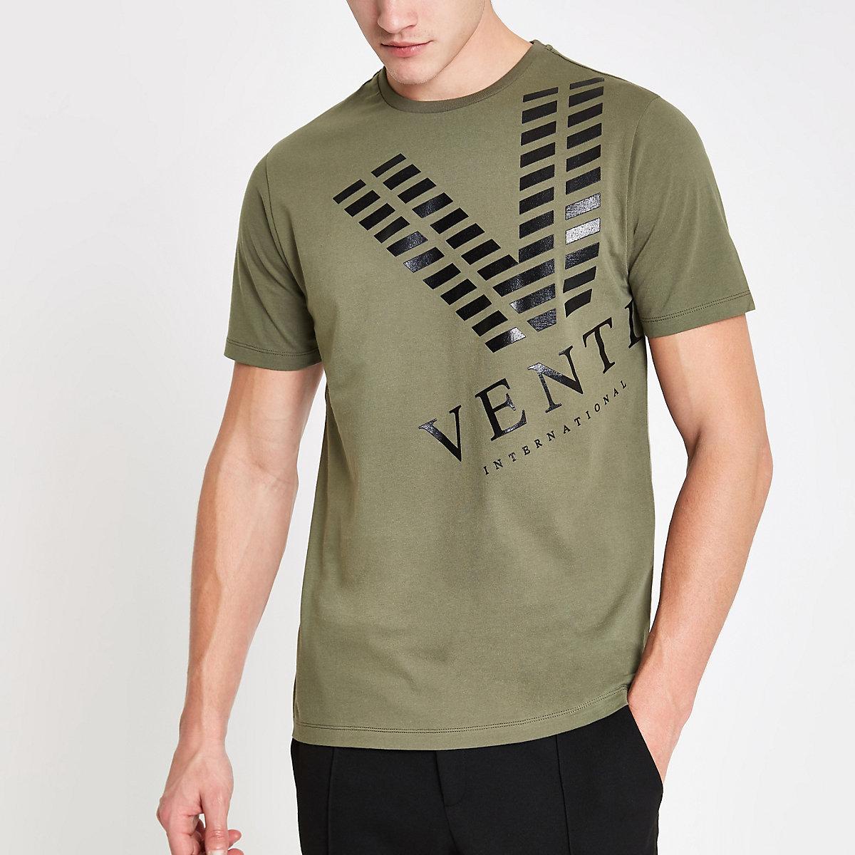 Khaki slim fit 'venti' print T-shirt