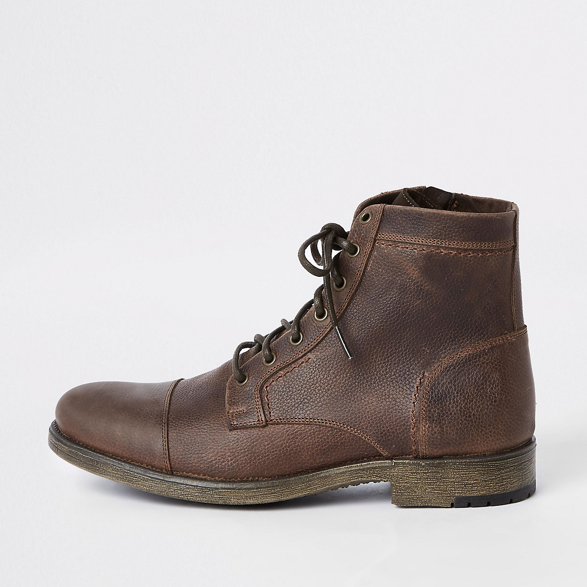 Dark brown tumbled leather lace-up boots