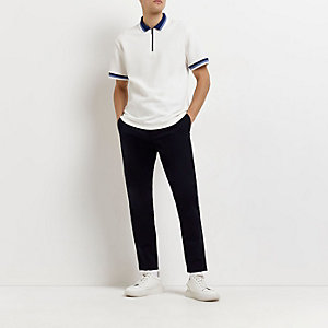 Navy smart skinny fit chino trousers