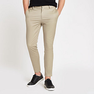 Pantalon chino skinny habillé grège