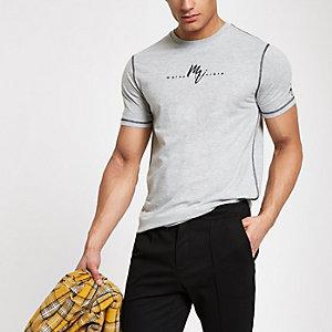 """Grau meliertes Slim Fit T-Shirt """"Maison Riviera"""""""