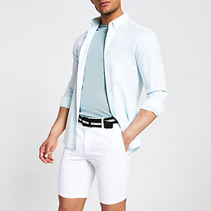 Short chino slim blanc à ceinture