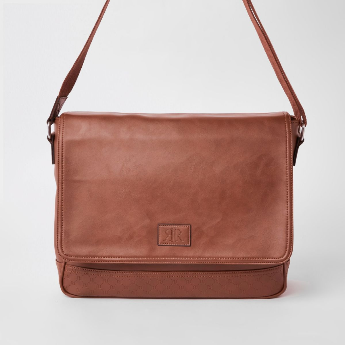 Brown RI monogram flapover satchel bag