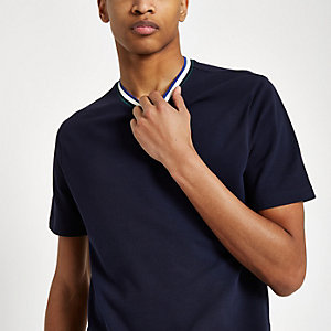 Navy tipped neck slim fit T-shirt