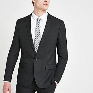Veste de costume skinny stretch texturée gris foncé
