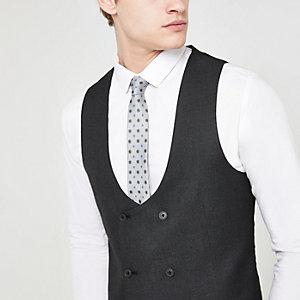 Dark grey textured suit waistcoat
