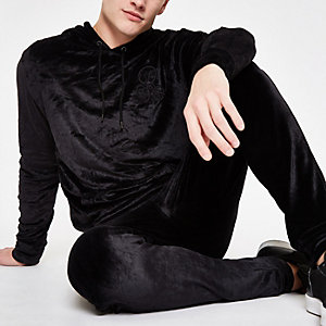 R96 black velour slim fit hoodie