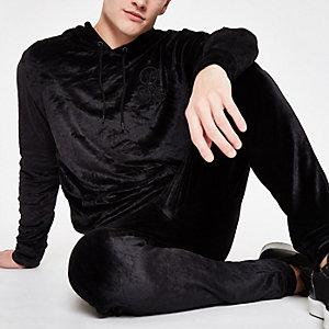 Black 'R96' velour slim fit hoodie