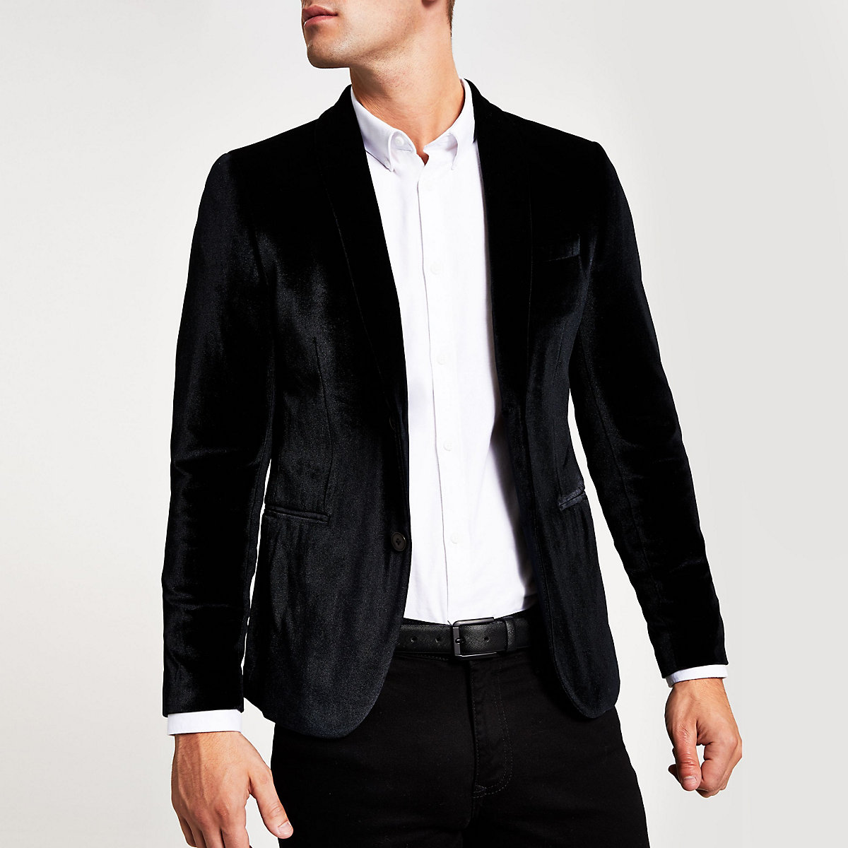 Black skinny fit velvet long sleeve blazer