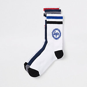 Hype – Lot de chaussettes imprimé écusson bleu marine