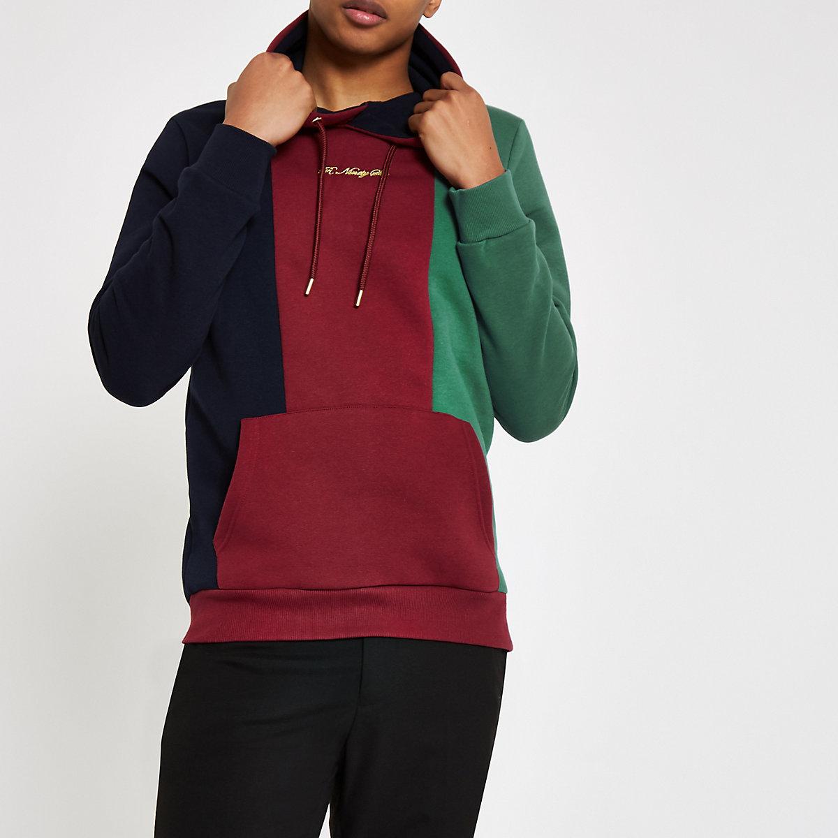 R96 burgundy block slim fit hoodie