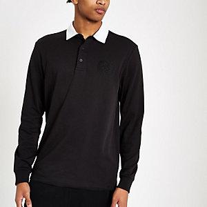 R96 rugbyshirt met lange mouwen in zwart