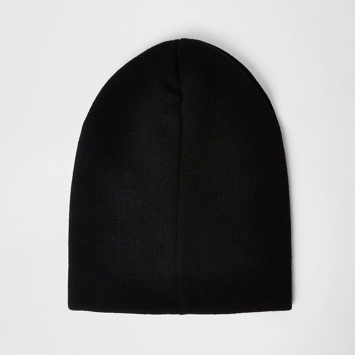 Black slouch beanie hat