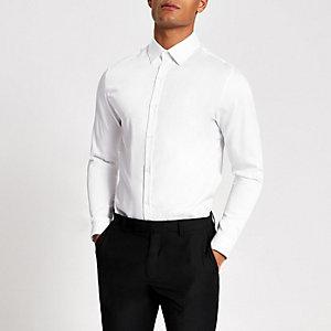 Chemise slim en coton de qualité blanc