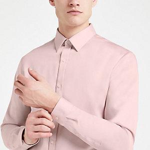 Roze premium katoenen slim-fit overhemd