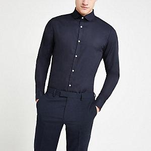 Marineblauwe premium katoenen slim-fit overhemd