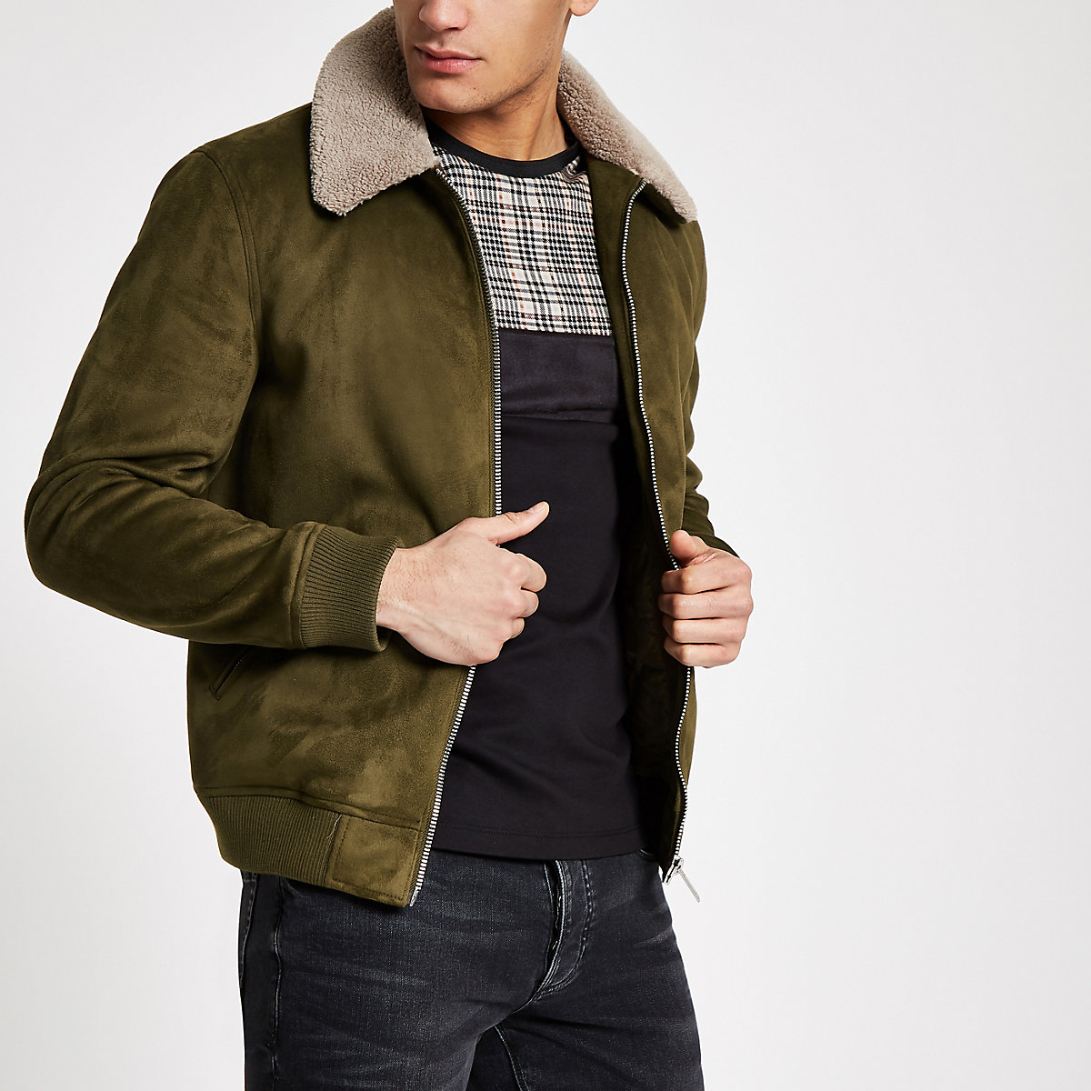 Khaki faux suede fleece collar jacket