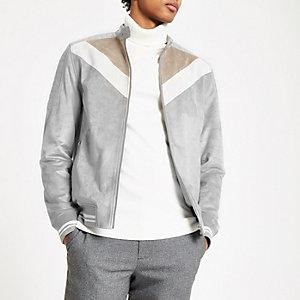 Veste en daim colour block motif chevron gris à col montant