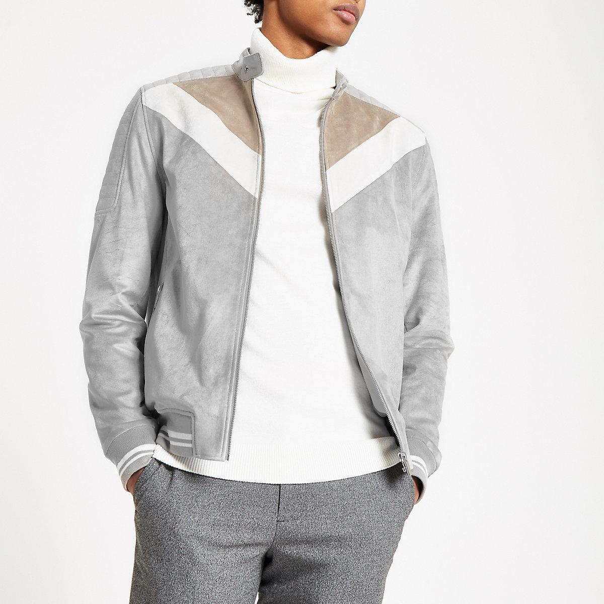 Grey suede chevron color block racer jacket
