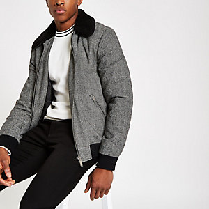 Grey check faux fur collar bomber jacket