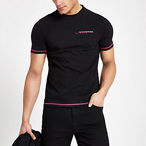 Black slim fit 'Maison Riviera' T-shirt