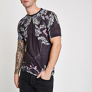 Schwarzes Slim Fit T-Shirt mit Paisley-Print