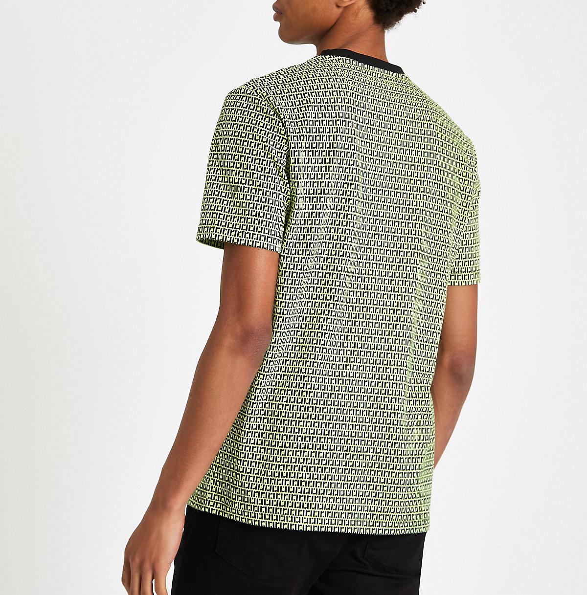 Neon Green Slim Fit Ri Monogram T Shirt T Shirts T Shirts