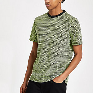 Neongroen slim-fit T-shirt met RI-monogram