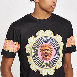 Zwart barok slim-fit T-shirt met leeuw
