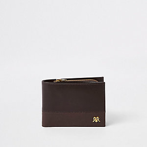 Portefeuille RI colour block en cuir marron