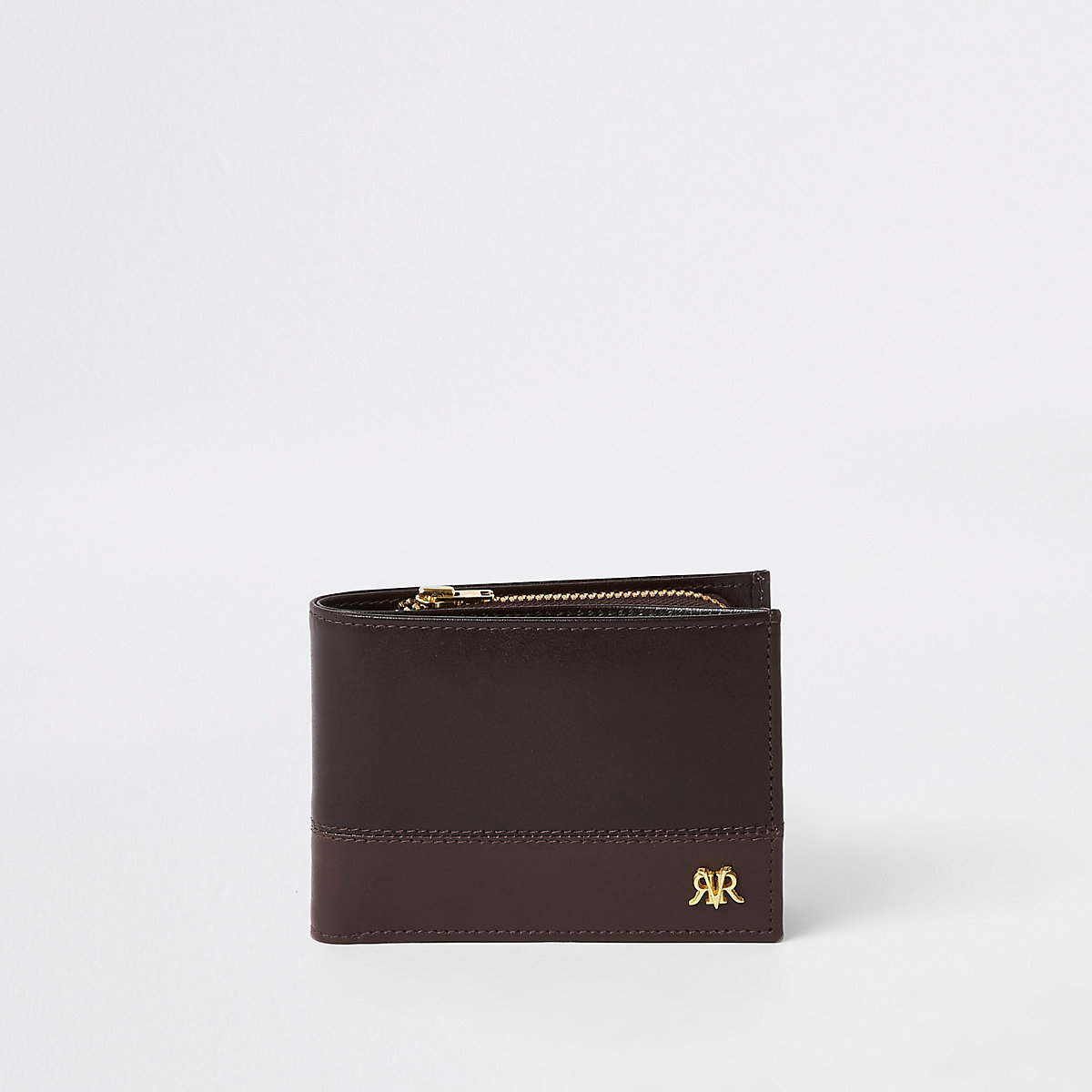 Brown leather block RI wallet