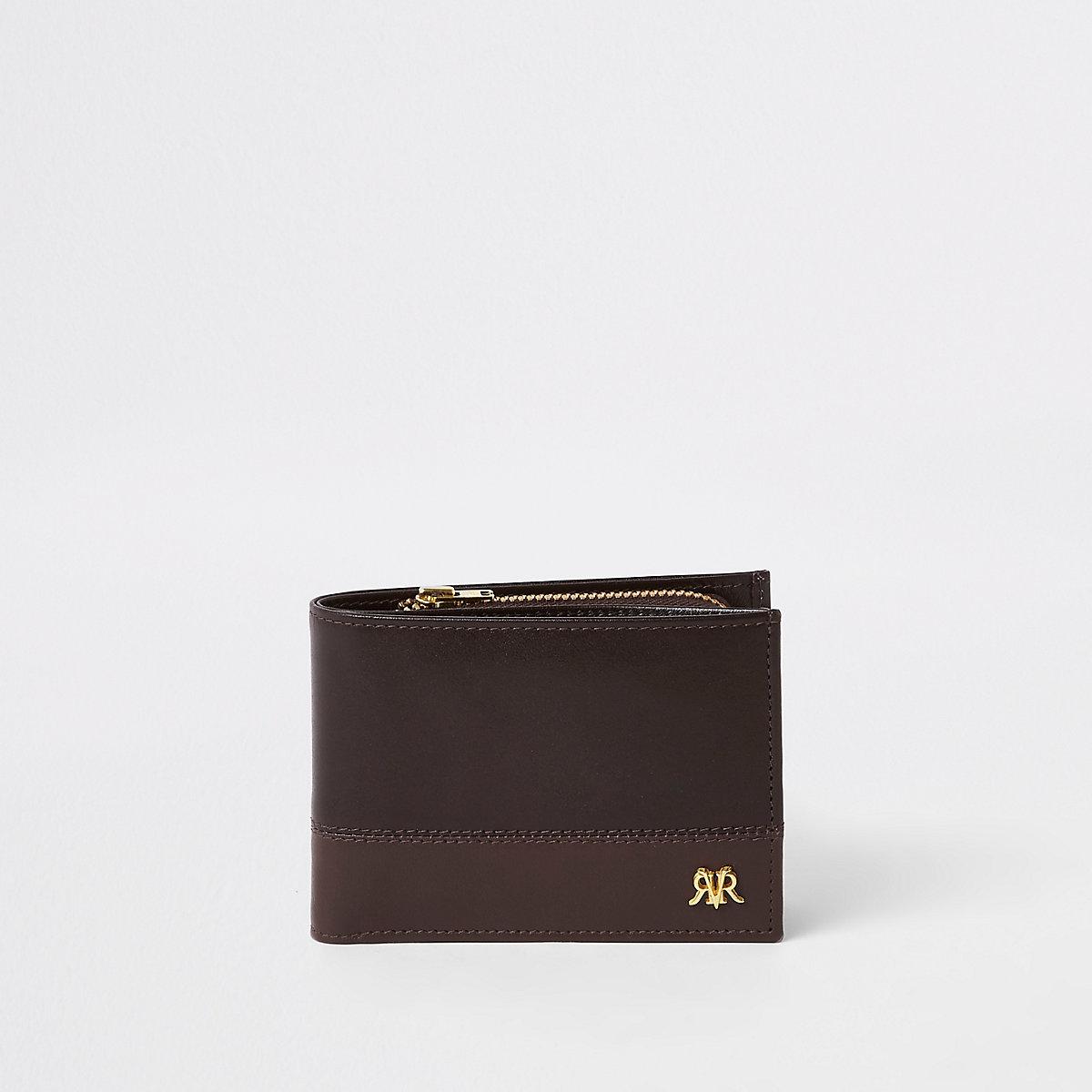 Portefeuille RI colour block en cuir marron