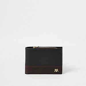 Black leather RI block wallet