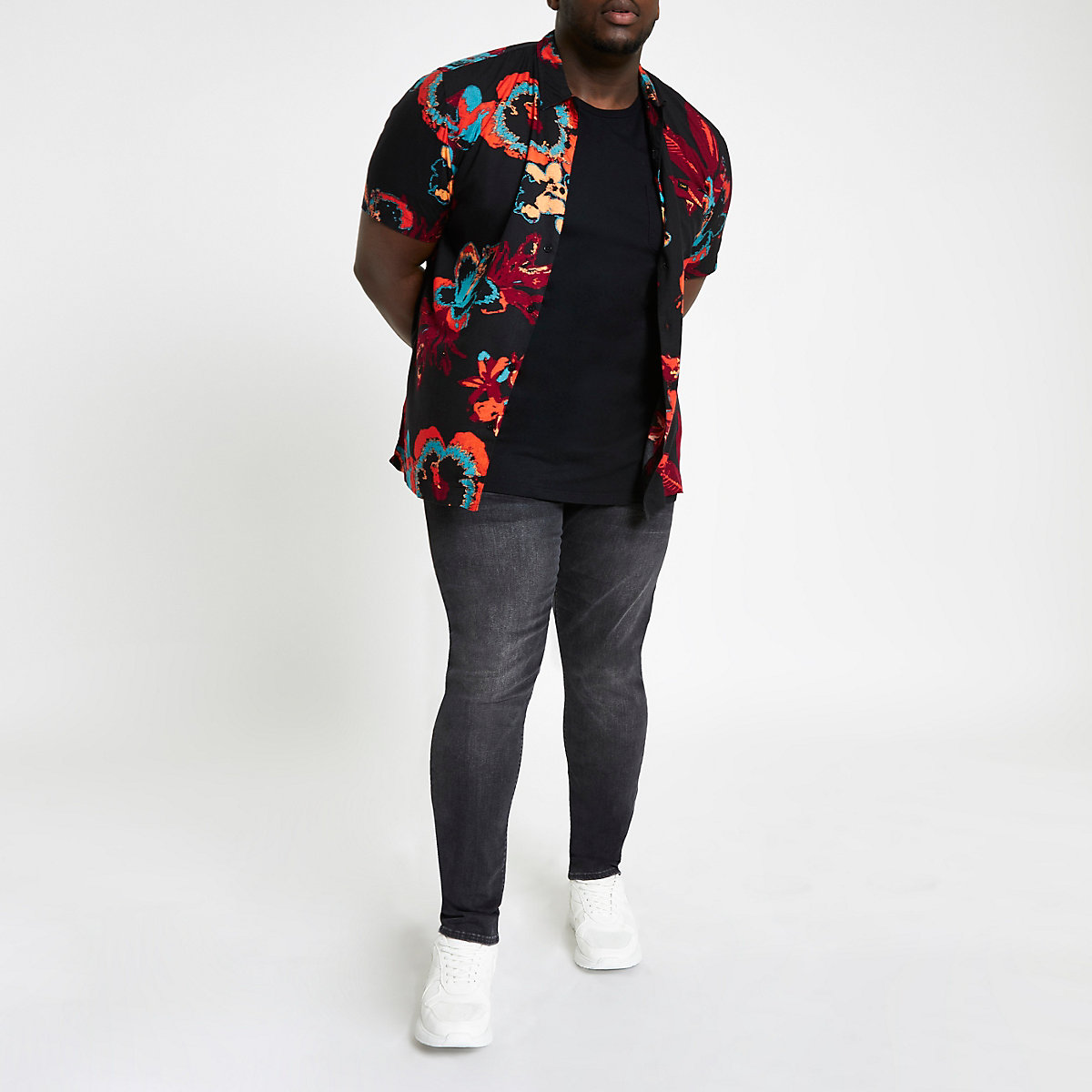 Lee Big and Tall black floral shirt
