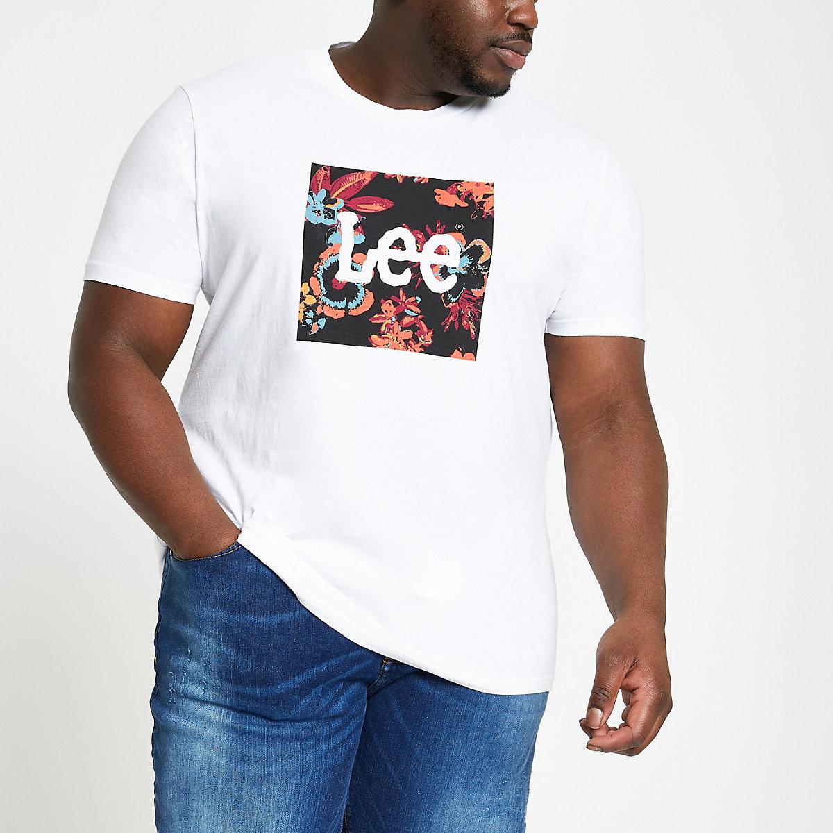 Lee Big and Tall white logo print T-shirt