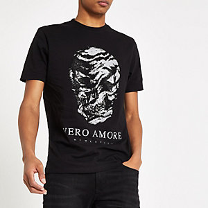 T-shirt slim noir motif tête de mort à strass