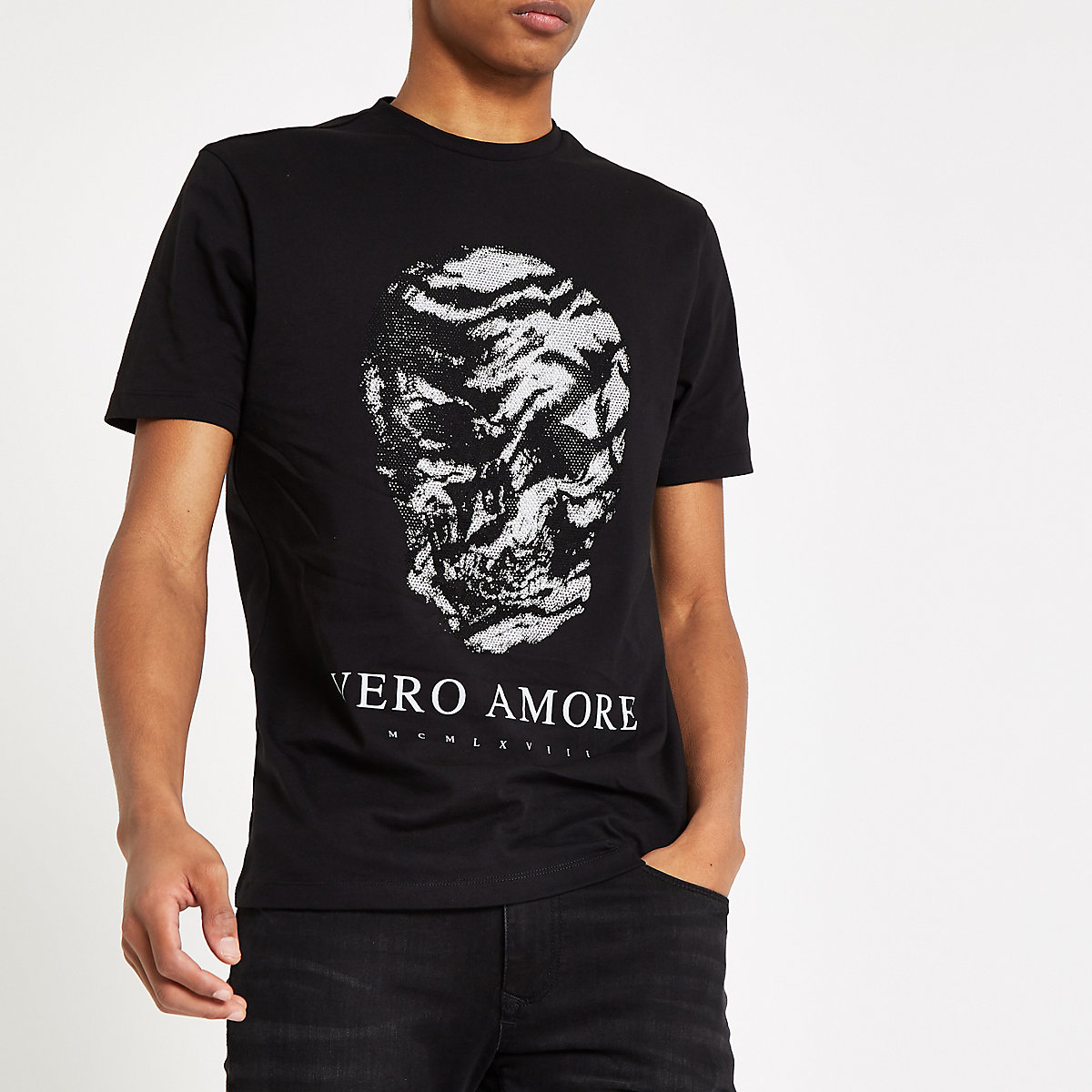 Black 'Vero amore' skull slim fit T-shirt