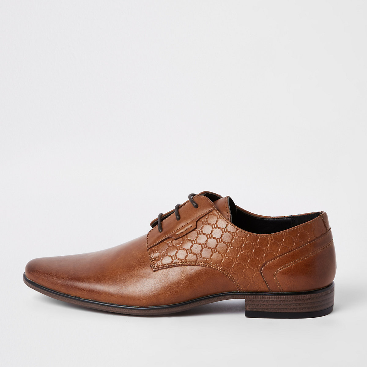 Brown 'RI' embossed derby shoes