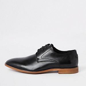 Chaussures Derby noires à bandes et lacets